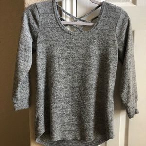 Sweaters - Soft and cozy gray straps sweater 3/4 sleeves